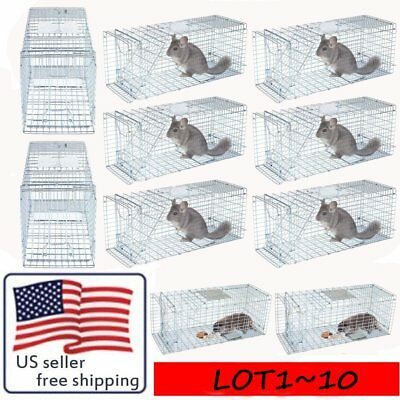 """LOT Live Animal Trap Extra Large Rodent Cage Garden Rabbit Raccoon Cat 32X12X12"""""""