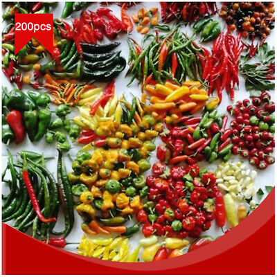 200Pcs Mix of Hot Red Green Yellow Pepper Pot Chili Pepper Seeds Capsicum Garden