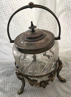 c1900 English Crystal Cut Biscuit Barrel And Stand