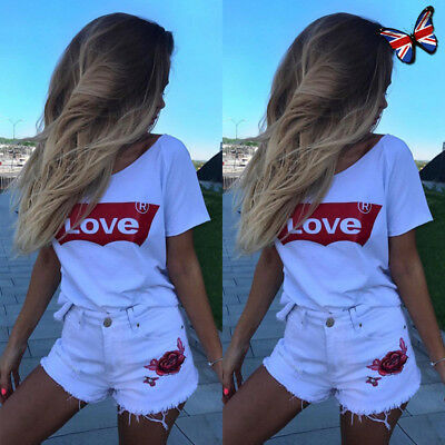 UK Womens Loose Short Sleeve T Shirts Blouse Ladies Love Letter Casual Crop Tops