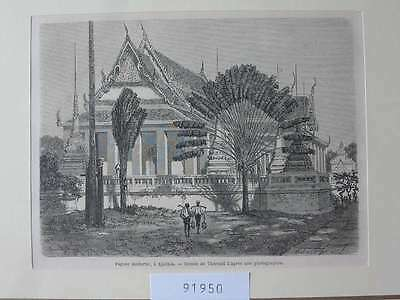 91950-Thailand-Siam-Thai-Pagode Ajuthia-T Holzstich-Wood engraving