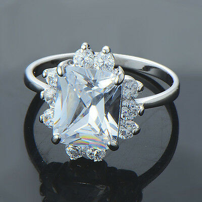 Classic Women white gold filled cute square clear crystal promise love eternity