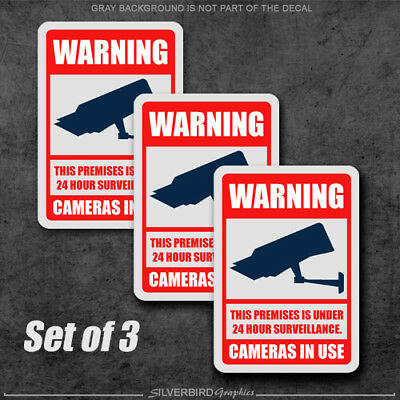 3x Camera Surveillance Security System / Video / Sticker / Decal Warning / CCTV