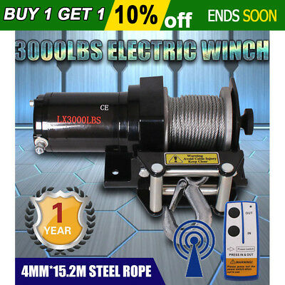 Wireless 3000LBS / 1361KG 12V Electric Steel Cable Winch Boat ATV 4WD Trailer AU