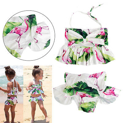 Toddler Kid Baby Girls Floral Tankini Swimwear Swimsuit Bikini Set Bathing Suit