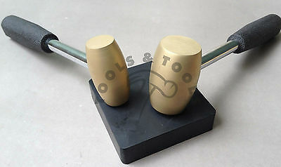 1 & 2 Lb Brass Hammer With Rubber Bench Block Hammering Stamping Jewelry Dapping
