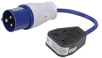 16 AMP SITE PLUG  230V 2P+E to Single Gang  UK Mains CARAVAN CAMPING ELECTRICS