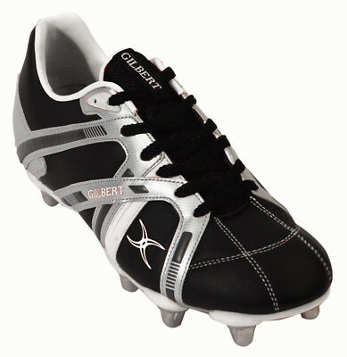 Clearance Line New Gilbert Omega Junior Rugby Boots Black Silver White Size 4