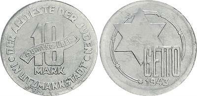 10 Mark Lack Coinage 1943 Getto Litzmannstadt EXTREME LIGHT WITH CERTIFICATE