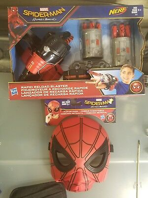 Nerf Marvel Spider Man Homecoming Rapid Reload Blaster & spidey homecoming mask