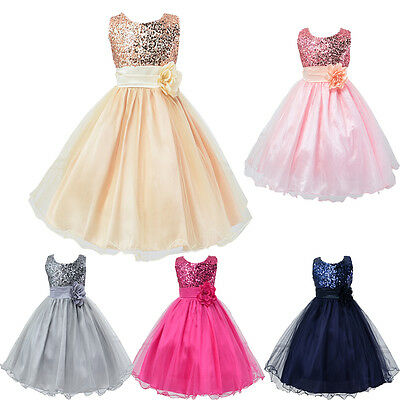 Flower Girl Dress Lace Solid Baby Princess Pageant Party Bridesmaid Dresses UK