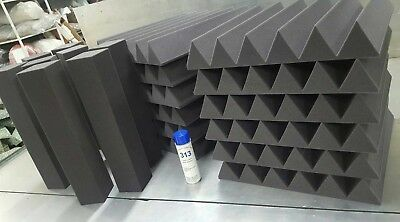 Acoustic Studio Soundproofing Foam Panels Wedge/Pyramid (12) 24'' x 24'' x 4''