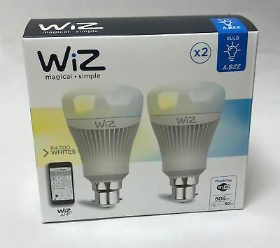 NEW Wiz Colours 2 Pack Wifi Connected Smart A B22 Bulb 806lm LED Wiz Mote App