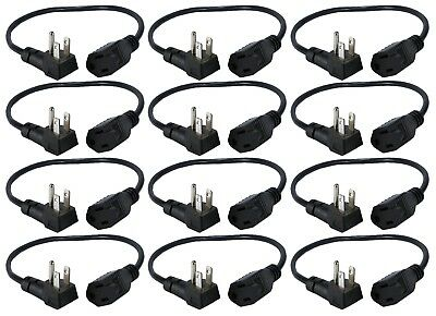 QVS 12-Pack 16 Inches 90 Degree Flat-Plug OutletSaver AC Power Adapter