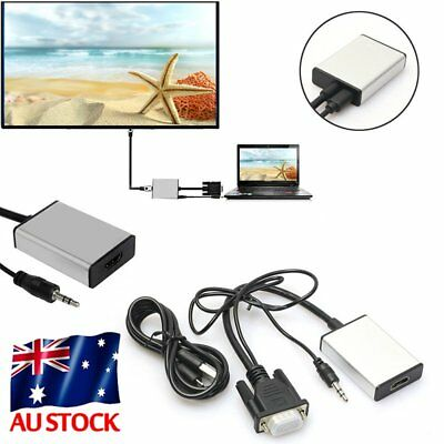1080P VGA to HDMI + USB Audio Video Cable Adapter Converter Laptop PC DVD HD SYD