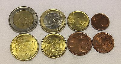 set of euros $2,$1 ,.50,20,10,5,2,1 cent
