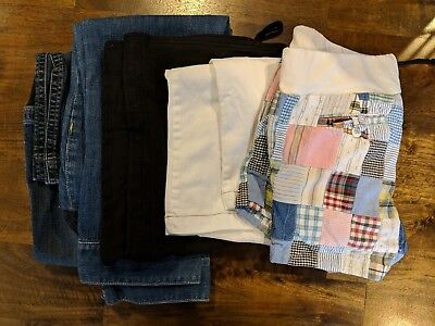 Lot of 5 pairs maternity bottoms - crop pants, shorts, size 6