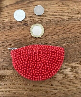 Brand New Vintage 70s Red Small Beaded Coin Purse Festival Holiday