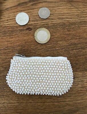 Brand New Vintage 70s White Small Beaded Coin Purse Festival Holiday