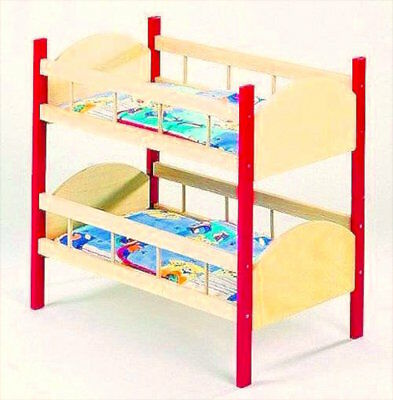 Dolls Bed Bunk Bed of Wood, with Bedding Elka