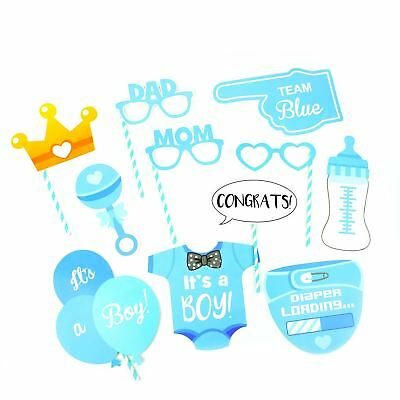 12 Team Blue Boy Baby Shower Selfie Photo Booth Props New Baby Party Accessories