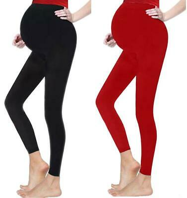 Over Bump Plain Maternity Leggings Ladies Full Length Stretch Cotton Plus Size