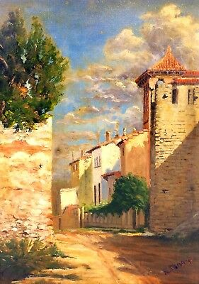 Street Of Rural Village. Oil On Canvas. Signed. Spain. Centuries Xix-Xx
