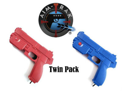 AimTrak Light Gun TwinPack 1x RED & BLUE Guns By Ultimarc works on MAME/PS2