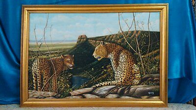 WILD LIFE WITH LEOPARDS  2  -  LARGE OIL ON CANVAS FRAMED PAINTING  APP.100X70cm