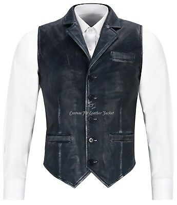 Mens Leather Waistcoat Navy Vintage Smart Fit Casual Business Suit  NAPA 1349
