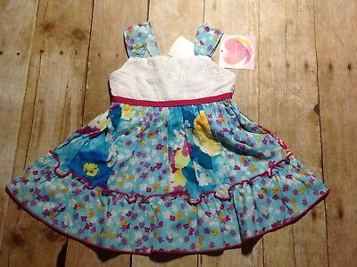 NWT Youngland Baby 12M Girls White, Blue Floral Sundress (HH0010-015)