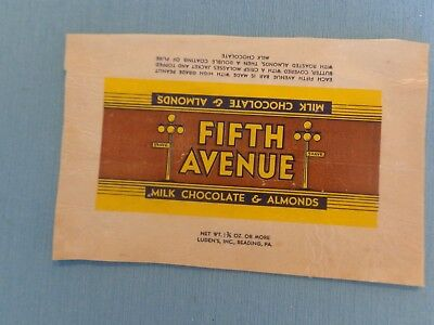 """1930's """"Fifth Avenue Milk Chocolate and Almonds"""" candy wrapper.  Luden's Inc."""