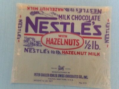 1930's Nestle's Milk Chocolate with Hazelnuts candy wrapper.