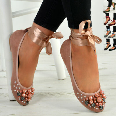 New Womens Ankle Wrap Flats Ladies Ballerina Pearl Diamante Studded Shoes Sizes