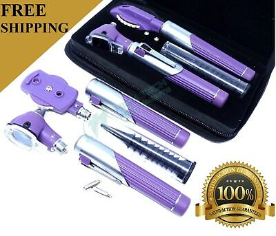 PROFESSIONAL FIBER OPTIC Otoscope Ophthalmoscope  LED Diagnostic ENT SET PURPLE
