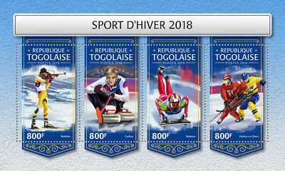 Z08 IMPERF TG18223a Togo 2018 Biathlon Curling Skeleton Ice hockey MNH ** Postfr