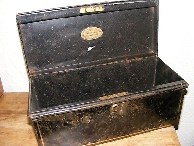 Vintage Black Steel Solicitor's Deed Box Shabby Chic
