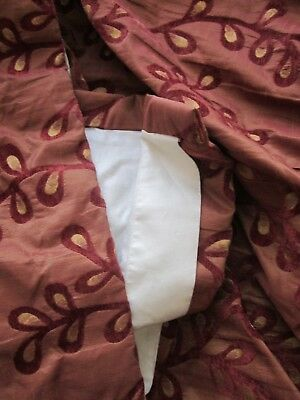 One pair of faux-silk red/gold/floral bespoke curtains large size. small damage