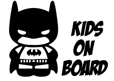 Kids On Board Car Window Batman Vinyl Sticker Decal - WHITE Children