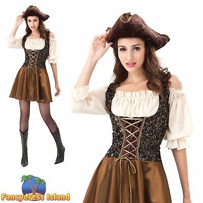 SEXY PIRATE GOLD ROSE SHIPMATE UK 10-14 Womens Ladies Fancy Dress Costume