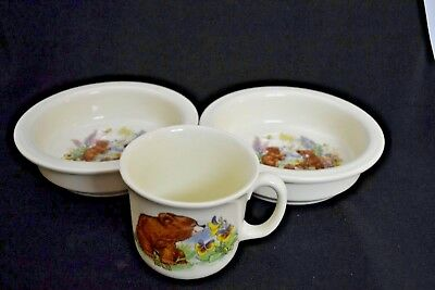 Royal Kent Child's Bowls (2) and Cup, Bear Cubs excellent condition