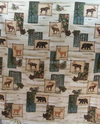 Lodge Or Cabin Bath Shower Curtain TIMBER RIDGE With Moose Bear And Deer