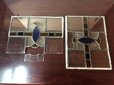 "2 Vintage Stained Glass Window Panes 1900s 17"" x 13"""