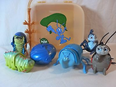 A Bugs Life Figures Set of 7 in Tupperware STORZ A LOT JR Box