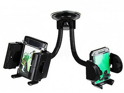 Twin Double Universal Mobile Phone Car Holder Mount Stand for iPhone Sat Nav