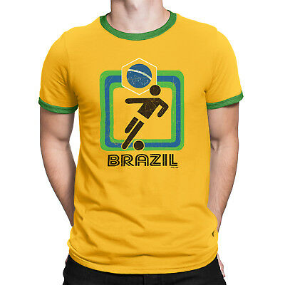 9e66ee291 Mens BRAZIL T-Shirt FOOTBALL Womens World Cup 2019 Retro Square Copa  America Tee