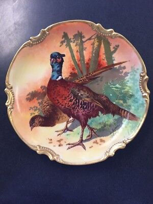 Limoges Coronet by L. Couderl Hanging Pheasant Plate