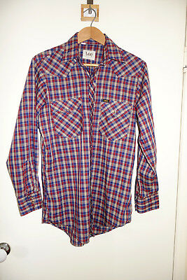 Real Vintage Lee Western Pearl Snap/Press Stud Shirt - Blue Red Plaid Check