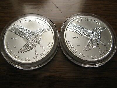 "(2) 2015 Canada ""Birds of Prey Series"" Red-Tailed Hawk .9999 Silver 1oz $5 Coins"
