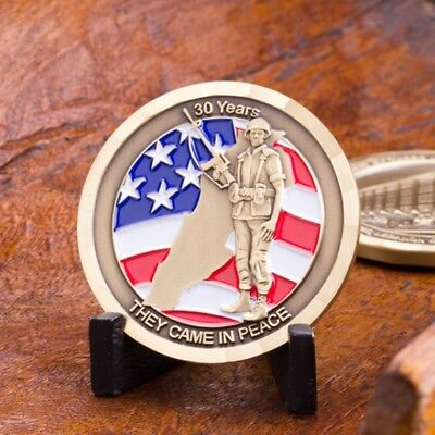 In Memory of Beirut 30 Years 3D War Fighter Bronze Challenge Coin and Stand.